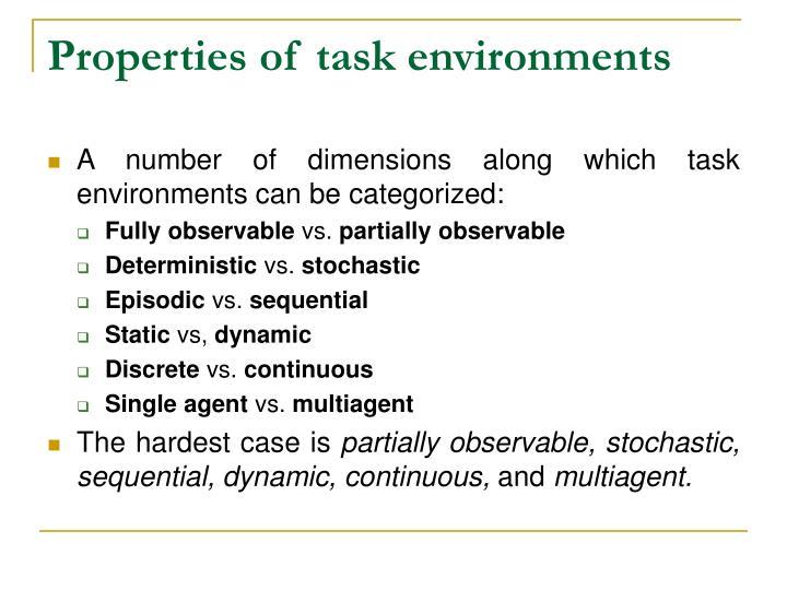 Properties of task environments