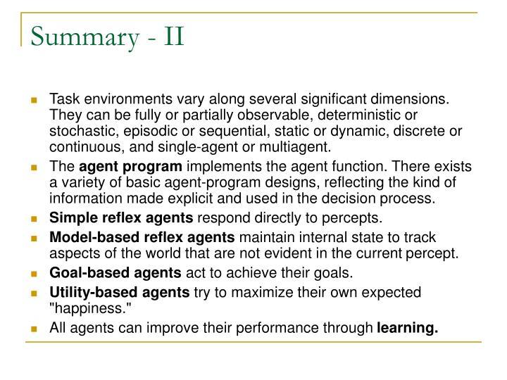 Summary - II