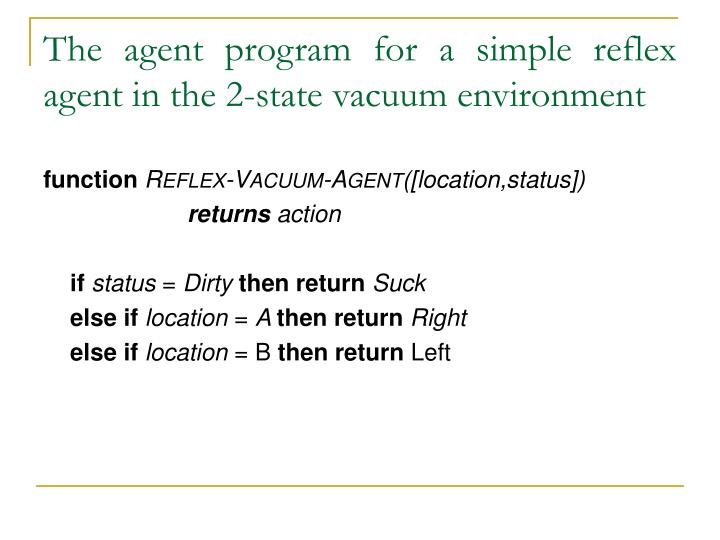 The agent program for a simple reflex agent in the