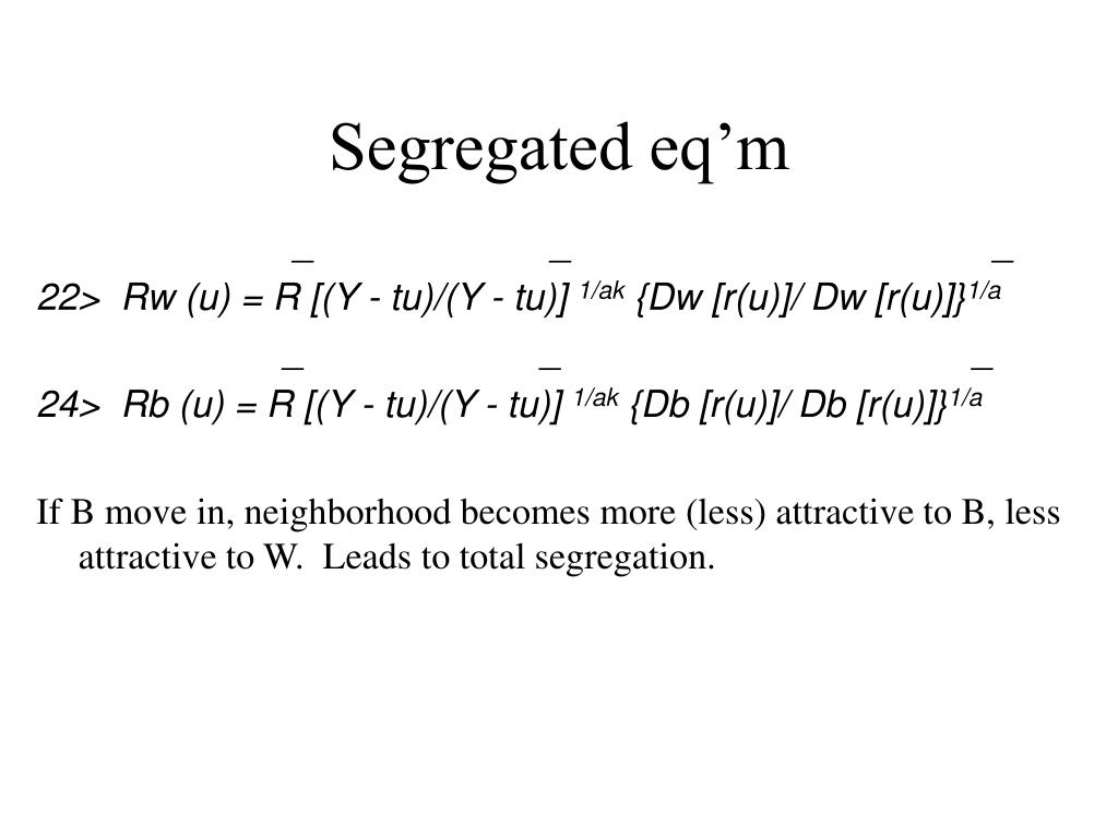 Segregated eq'm