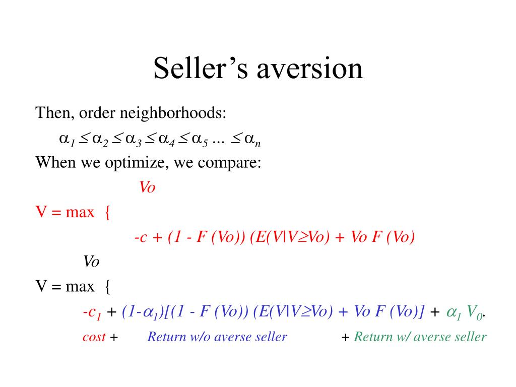 Seller's aversion