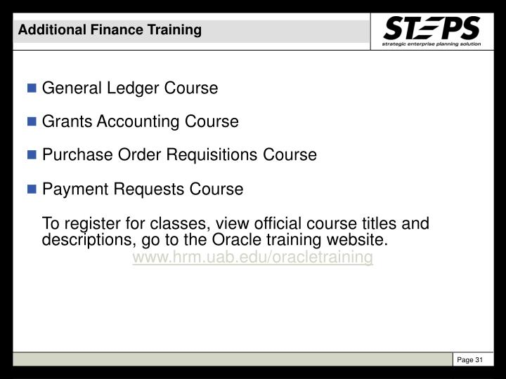 Additional Finance Training