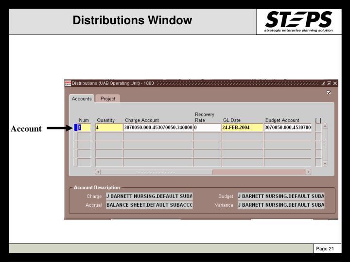 Distributions Window