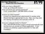 end user resources oracle go live checklist