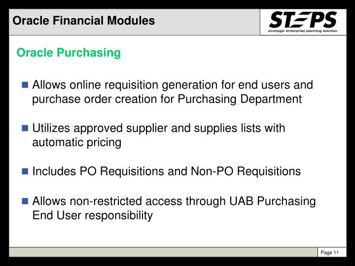 Oracle Financial Modules