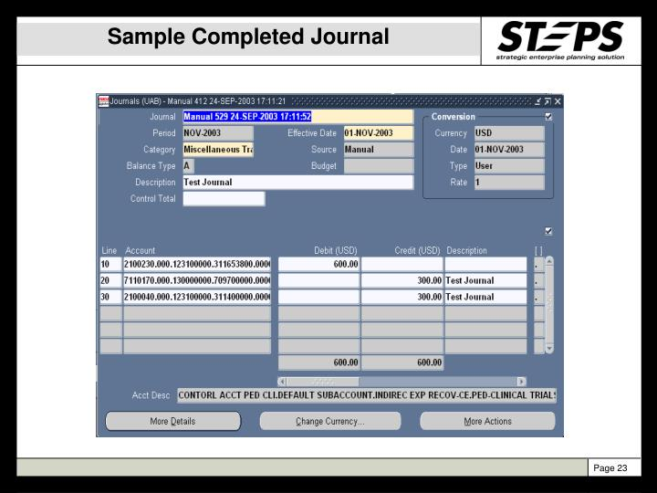 Sample Completed Journal