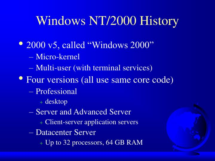 Windows NT/2000 History