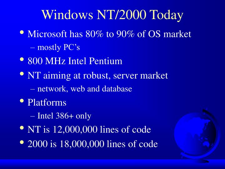 Windows NT/2000 Today