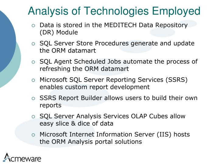 Analysis of Technologies Employed