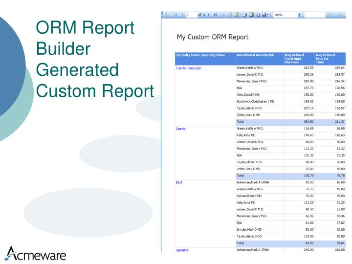 ORM Report Builder Generated Custom Report
