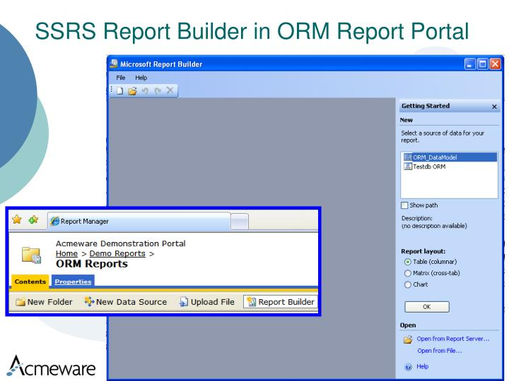 SSRS Report Builder in ORM Report Portal