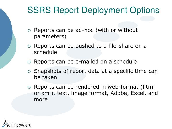 SSRS Report Deployment Options