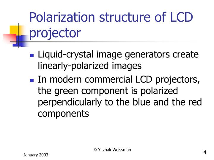 Polarization structure of LCD projector