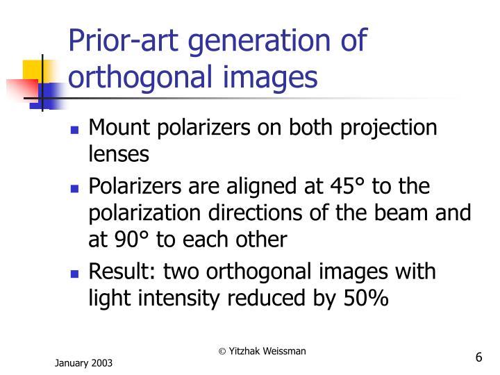 Prior-art generation of orthogonal images