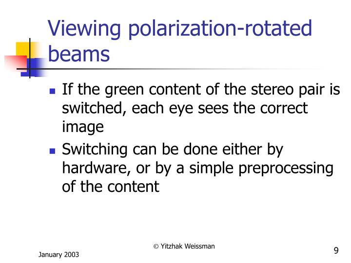 Viewing polarization-rotated beams