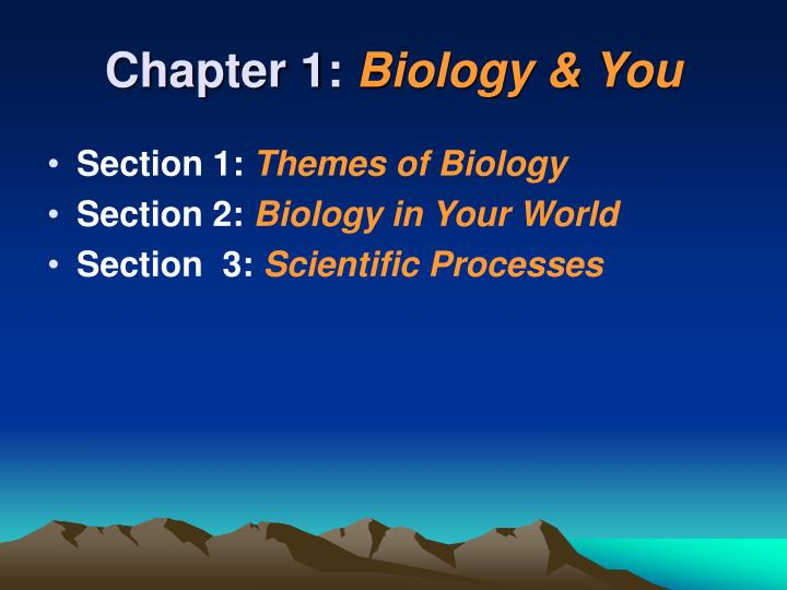 Chapter 1 biology you