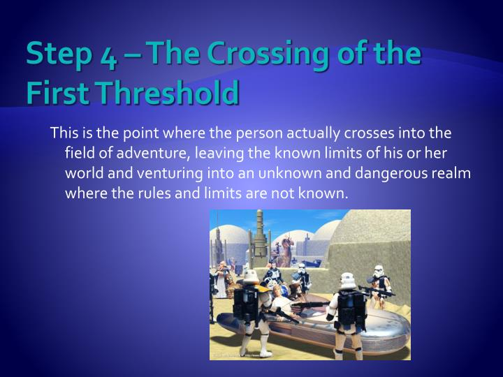Step 4 – The Crossing of the First Threshold