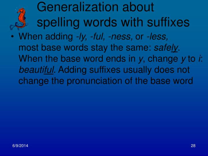 Generalization about spelling words with suffixes
