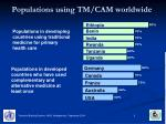 populations using tm cam worldwide