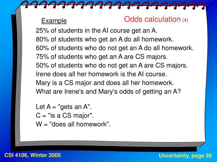 Odds calculation
