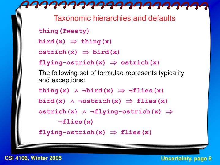 Taxonomic hierarchies and defaults
