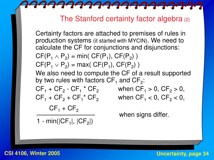The Stanford certainty factor algebra