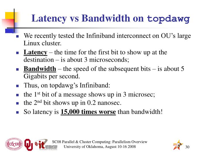 Latency vs Bandwidth on