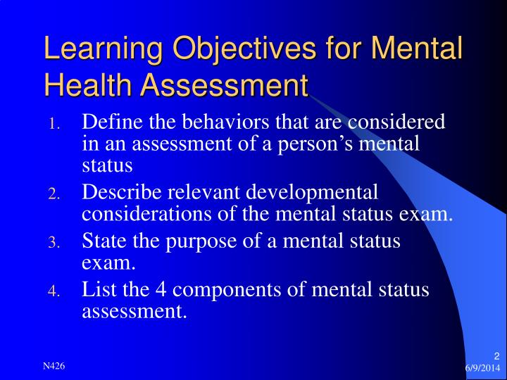Learning objectives for mental health assessment
