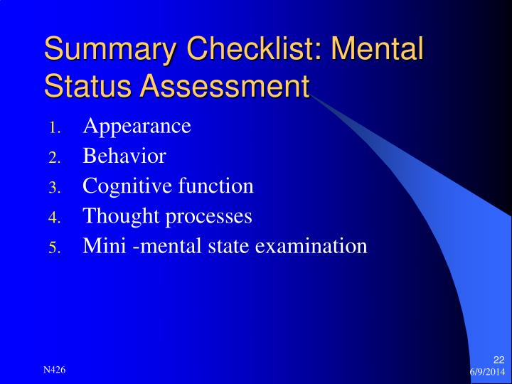 Summary Checklist: Mental Status Assessment
