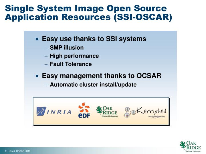 Single System Image Open Source Application Resources (SSI-OSCAR)
