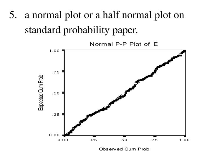 5.	a normal plot or a half normal plot on standard probability paper.