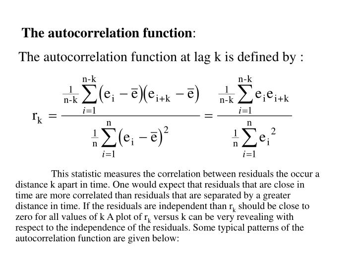 The autocorrelation function at lag k is defined by
