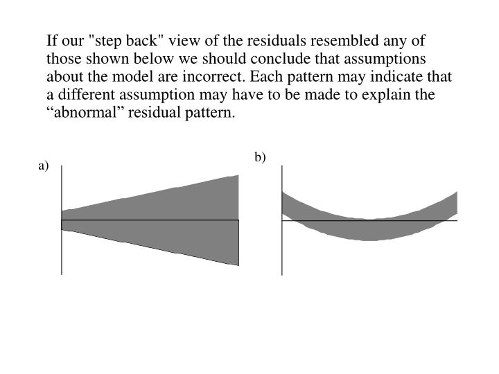 "If our ""step back"" view of the residuals resembled any of those shown below we should conclude that assumptions about the model are incorrect. Each pattern may indicate that a different assumption may have to be made to explain the ""abnormal"" residual pattern."