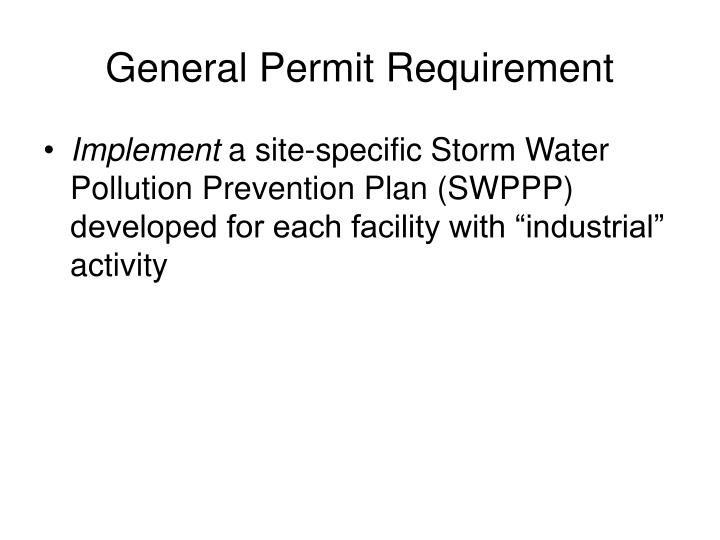 General Permit Requirement