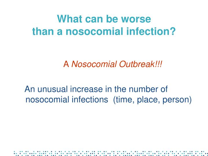 discuss the control of nosocomail infections essay Infection control powerpoint 1 97,631 views share like gregoryjnewman follow published  botulism and staphylococcal and streptococcal infections are spread this way 16  conclusion• discuss your mini – paper with the classhow much could you recallwas the powerpoint helpful for recalling the informationwould you like this type.