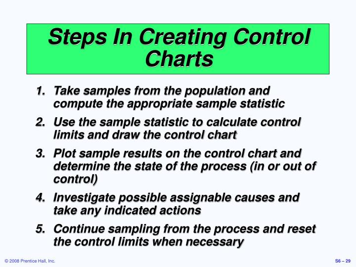 Steps In Creating Control Charts