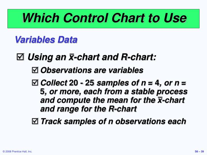 Using an x-chart and R-chart: