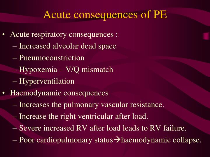 Acute consequences of PE