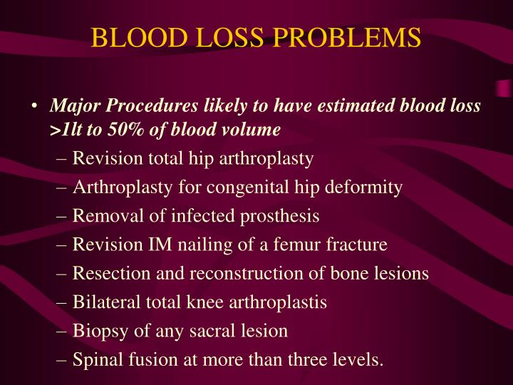 BLOOD LOSS PROBLEMS