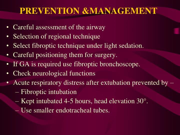 PREVENTION &MANAGEMENT