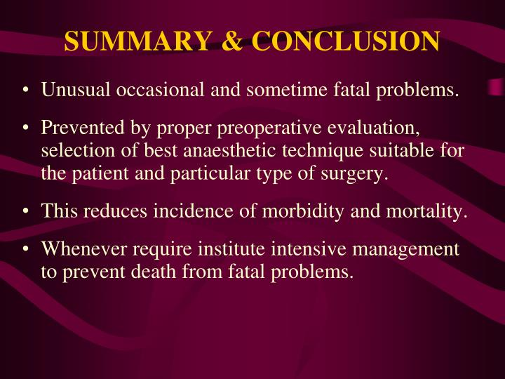 SUMMARY & CONCLUSION