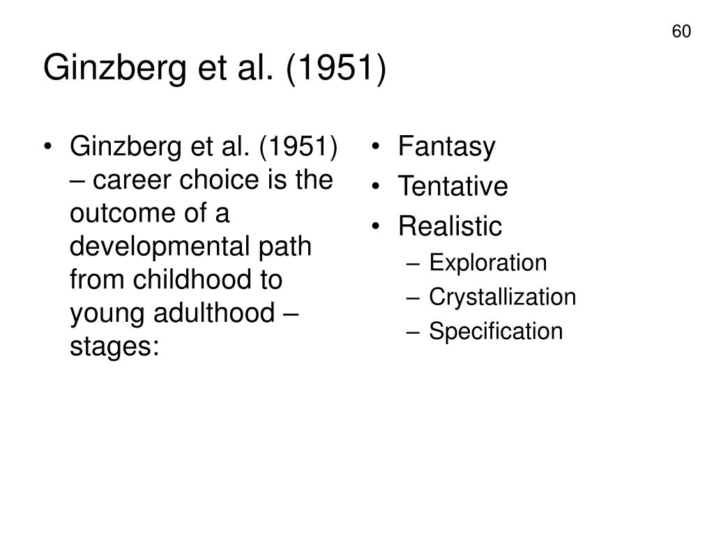 Ginzberg et al. (1951) – career choice is the outcome of a developmental path from childhood to young adulthood – stages: