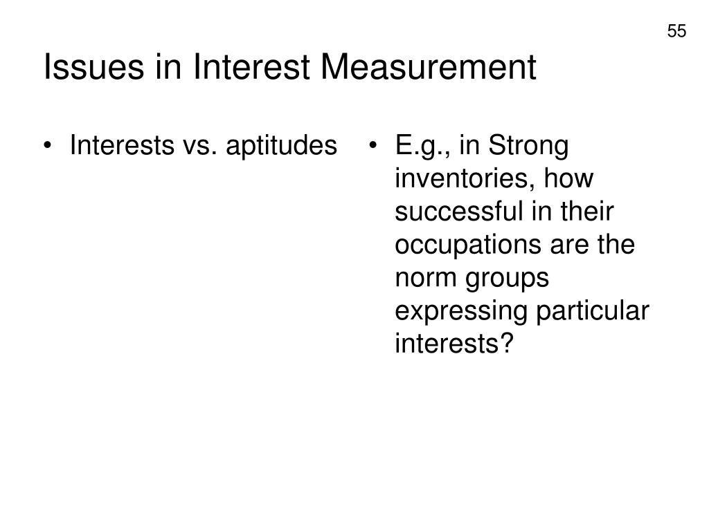 Interests vs. aptitudes