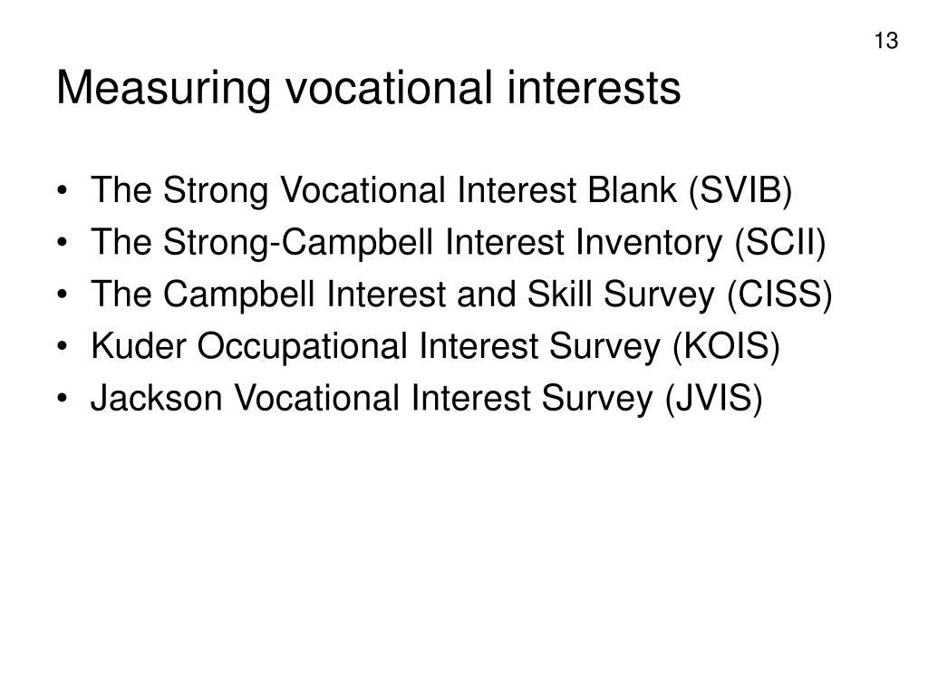 Measuring vocational interests