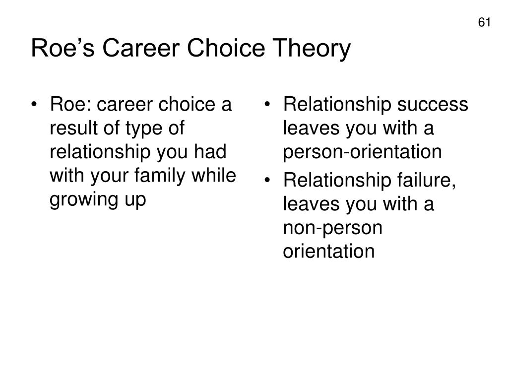 Roe: career choice a result of type of relationship you had with your family while growing up