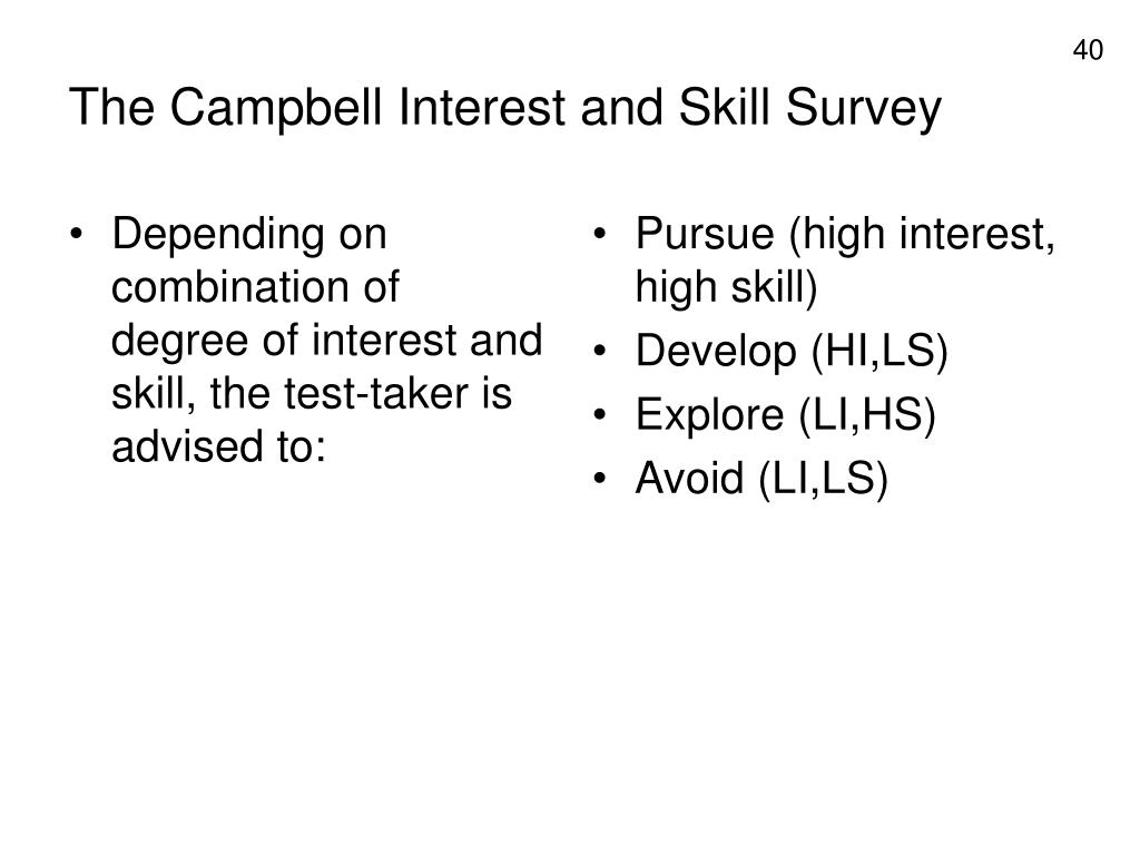 Depending on combination of degree of interest and skill, the test-taker is advised to: