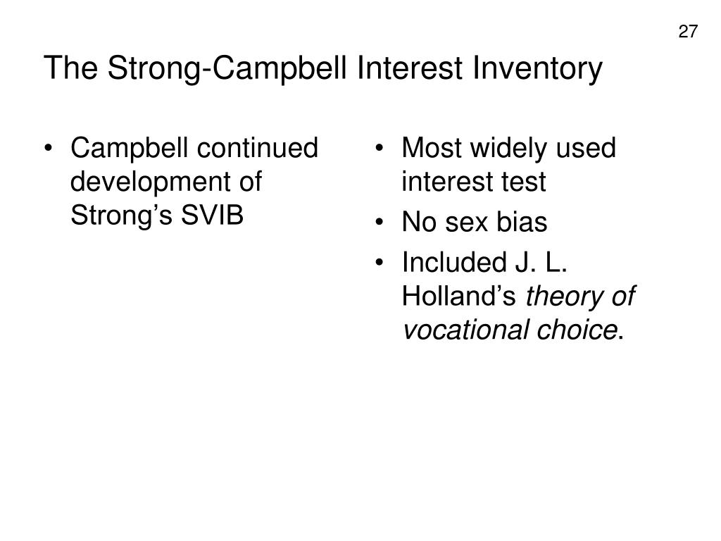 Campbell continued development of Strong's SVIB