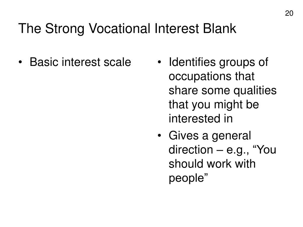 Basic interest scale