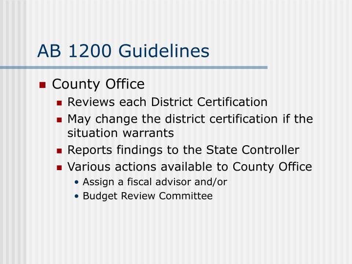 AB 1200 Guidelines