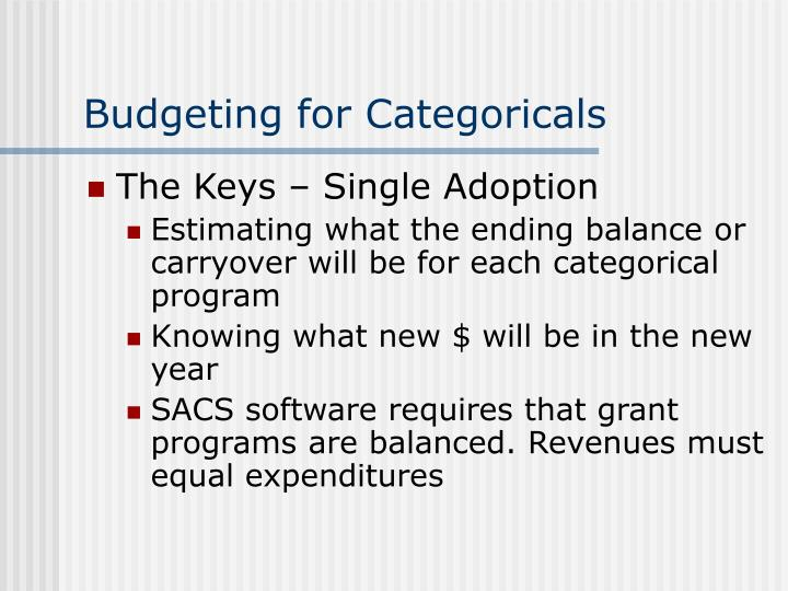 Budgeting for Categoricals